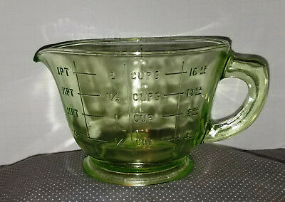 Vintage Green Depression Glass Measuring Cup Footed Base 2 Cups