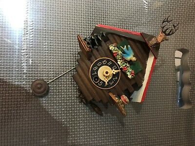 made in W Germany small cuckoo clock beautiful detail - no key - untested