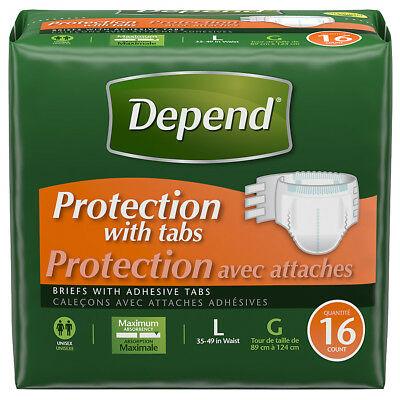 """Depends Protection Brief with 4 Tabs Large 35"""" - 49"""" (48/case)"""