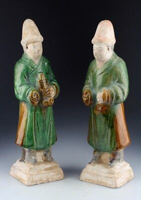 *sc*beautiful Pair Of Chinese Ming Dynasty Tomb Pottery Attendants, 1368-1644!