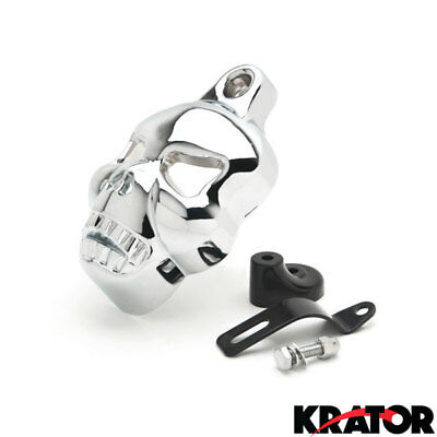 Chrome Skull Horn Cover New Fit For Harley Big Twins W/ Horn Between Cylinders