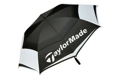"NEW TaylorMade Double Canopy 64"" Golf Golfing Umbrella Pro Brolley Black/White"