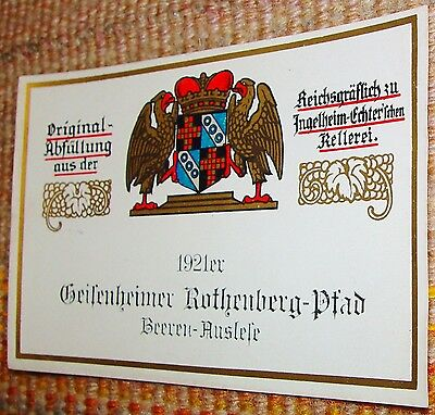 1921 Beerenauslese UNUSED German Wine Label Geisenheimer Rothenberg-Pfad Vintage