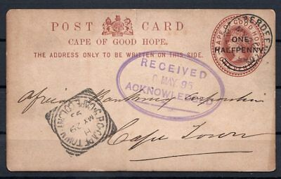 Cape of Good Hope Postcard surcharged Aberdeen 26.05.1895 to CT Queen Victoria