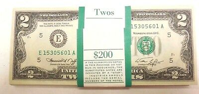 $2 1976 series D Uncirculated 125 in consecutive order