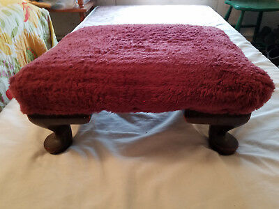 Antique Foot Stool Victorian Style hardwood & plum