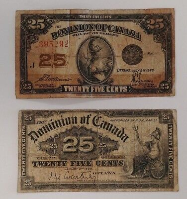 Lot of 2 Dominion of Canada 25¢ Notes