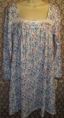Small Eileen West Nightgown Cotton Knit Knee Length Long Sleeve Red Blue  Floral e78914a31