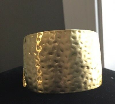 Kenneth J Lane Brushed Hammered Gold Tone Runway Couture Hinged Cuff Bracelet
