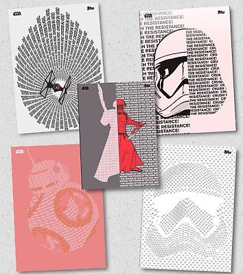 GALACTIC TYPEFACE COMPLETE SET OF 5 Topps Star Wars Trader Digital Card