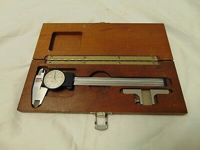 "Swiss Made Brown & Sharpe 599-579-2 Dial Caliper .001"" Shock Proof W/Wooden Case"