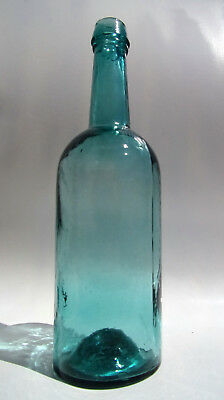 Awesome Cornflower Blue Whittled Whiskey Bottle - Applied Top and Iron Pontil