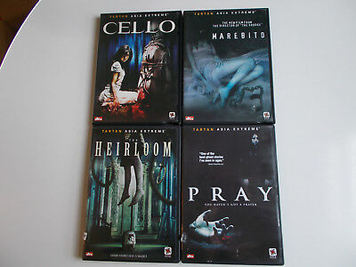 Lot of 4 Tartan Asia Extreme Asian Horror DVD's Pray, Heirloom, Cello, Marebito