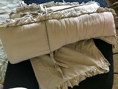 Restoration Hardware Baby ruffle crib bedding gray