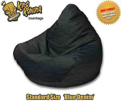 Denim Blue Beanbag Chair Quality New Large Lounge Soft Gaming Cinema Theatre