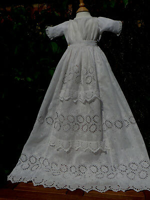"""Lovely Antique Lace Doll Dress 15""""chest Very Long Christening Gown Hand Sewn"""