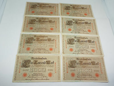 Lot of 8 - 1910 Germany 1000 Mark - Red Seal - AU/UNC Consecutive Sets - P 44b