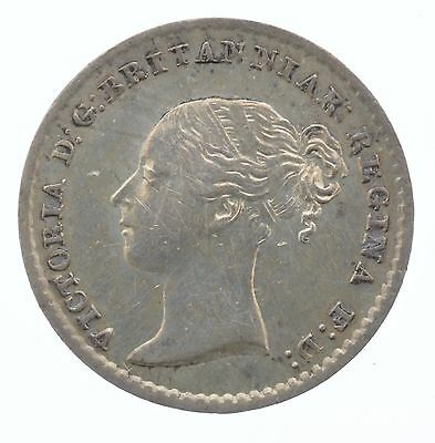 1845 Queen Victoria Maundy Silver Coin One Pence 1P Great Britain UK England
