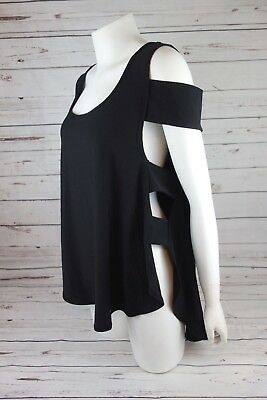b6e8c3940e73b9 NEW X by Gottex Women s Cold Shoulder Top with Side Cutouts Black MSRP  70