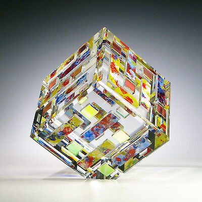 """Optic Crystal Dichroic Glass Magnum Paperweight """"VOLCANO"""" by Ray Lapsys OAK"""