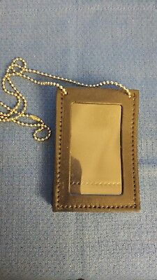 Don Hume Black Leather Neck Chain or Belt Police Badge / Shield ID Holder