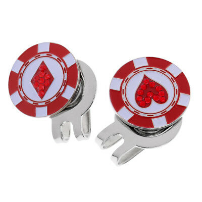 Novelty Golf Ball Marker Magnetic Hat Clip Detachable Cap Clip Pack of 2 Red