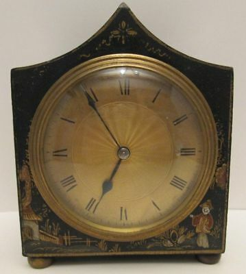 Antique Chinese Hand Painted  Mantel Clock Black