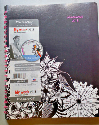 Unused 2018 Planner AT A GLANCE Full Size Weekly Monthly Week Black Pink Floral