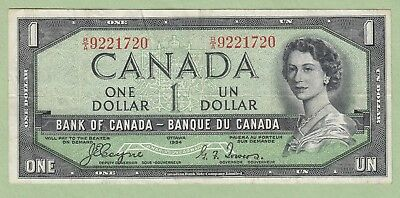 1954 Bank of Canada One Dollar Note Devil's Face- Coyne/Towers - B/A9221720 - VF