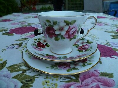 Pretty Vintage Queen Anne English China Trio Tea Cup Saucer Roses 8644