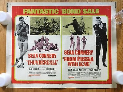 1968 Fantastic Bond Sale Combo Half Sheet Thunderball + From Russia With Love