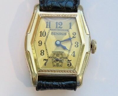 Vintage Art Deco Two Tone Benrus Ornate  Dial  with 17 Jewel Model M Movement