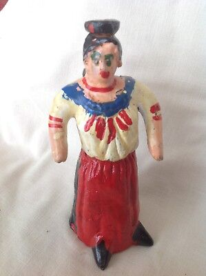Mexican Pottery Woman Bank and Whistle Painted Circa 1991