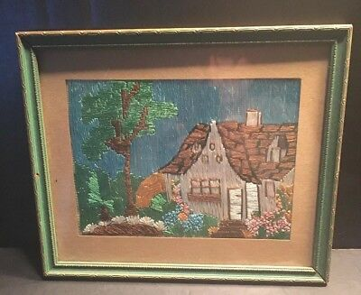 Antique Arts & Crafts Mission Embroidery English Cottage Garden Framed