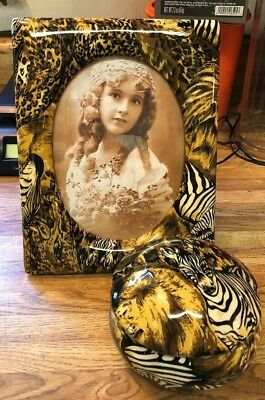 Le Vie Safari/jungle/patchwork/animal Print Picture Frame & Jewelry/trinket Box