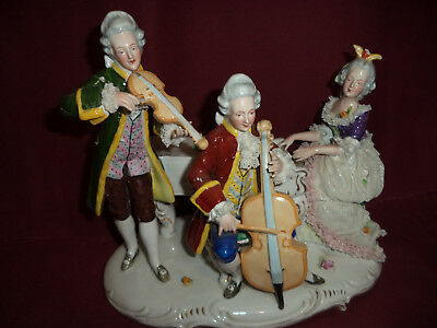"""Large Dresden Porcelain Lace Musician Group - Crown Over...""""r"""" ??? As Is"""