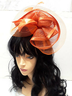 Sinamay Ribbon Feather Fascinator Fashion Derby Kentucky Church Headband Orange