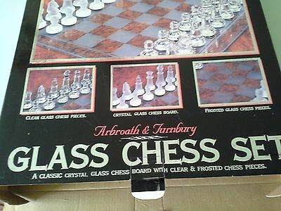 LARGE GLASS  BOXED CHESS SET ( complete with instruction book )