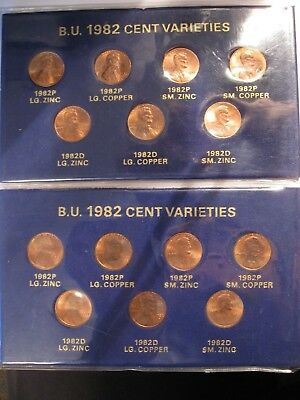 2 SETS 1982 Lincoln Memorial Cents 7 Coin Uncirculated Variety Set in Sleeve