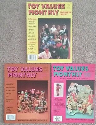 Lot of (3) Toy Values Monthly Magazines Premier Issue # 3 #5 1991 FREE SHIPPING