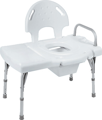 I-class heavy-duty transfer bench with rail, commode opening and pail part no. 9