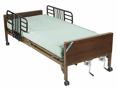 Multi Height Manual Hospital Bed with Half Rails and Therapeutic Support Mattres