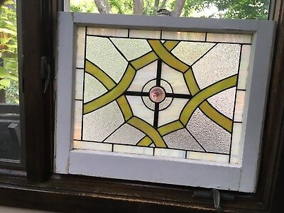 Victorian Style Stained Glass in Old Window Frame