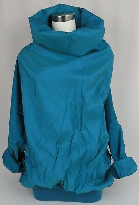 NWT MARALYCE FERREE PORTLAND MAINE Teal Green One Size Rain Pullover Hooded Vtg