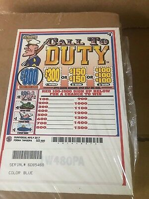 """""""Patriotic Pack"""" 1 Window Pull Tab 480 Tickets Payout $363"""