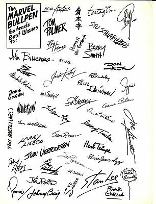 1966 Marvel Comics Bullpen Best Wishes Signature Promo Stan Lee  - Marvelmania!
