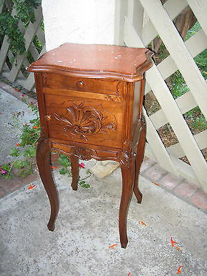 French Country  Hand Carved Solid Walnut, Marble Top Nightstand