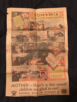 "1934 TOM MIX Ralston Purina Ad Comic Page 11"" x 16"" Flip Side is BUCK JONES"
