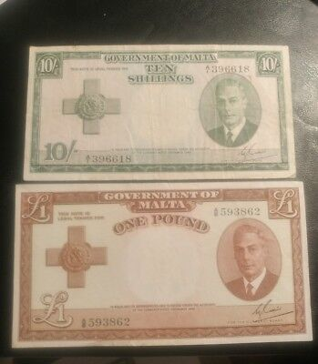 Government Of Malta, 1949 (1951) 10 Shilling And 1 Pound Currency Notes.