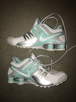 cheap for discount ec26c d4cee Nike Womens Shox Current Running Shoes 639657 109 White  Teal  Platinum  Size 7.5